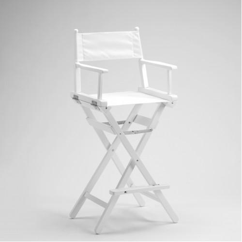 Sedia regista in legno laccato bianco